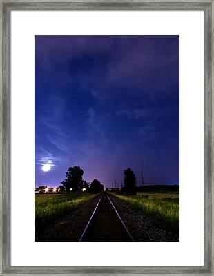 Moonrise On The Railroad Framed Print