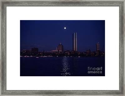 Moonrise Over Boston Skyline July 1982 Framed Print by Thomas Marchessault