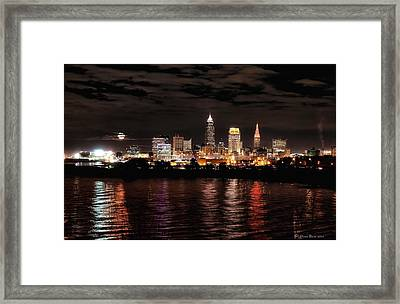 Moonrise Over Cleveland Skyline Framed Print by Daniel Behm