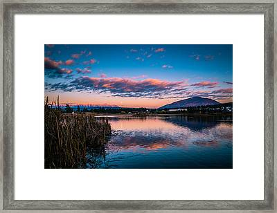 Framed Print featuring the photograph Moonrise Over Elizabeth Lake by Rob Tullis