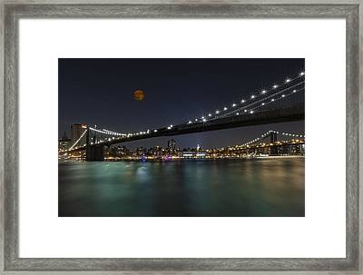 Moonrise Over Manhattan II Framed Print by Susan Candelario