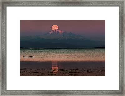 Moonrise Over Mount Baker Framed Print