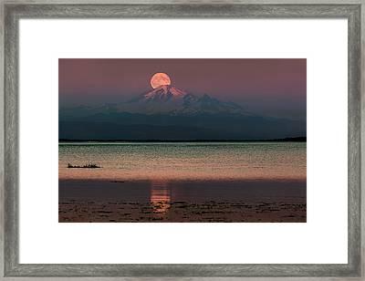 Moonrise Over Mount Baker Framed Print