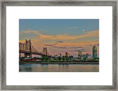 Moonrise Over Queensboro  59th Street Framed Print