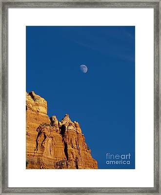 Moonrise Over Sandstone Framed Print by Mike  Dawson