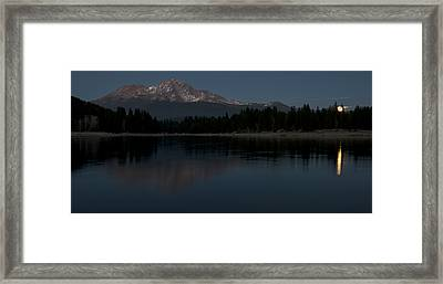 Moonrise Over The Lake At Mount Shasta Framed Print by Loree Johnson