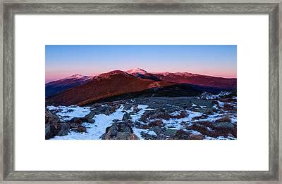 Moonrise Over The Presidential Range Framed Print by Jeff Sinon