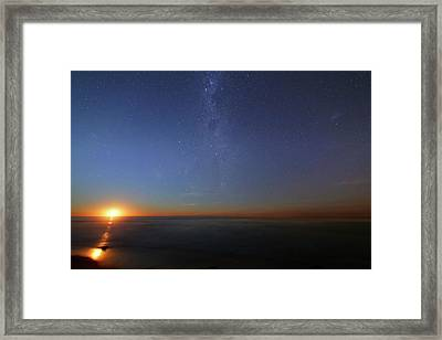 Moonrise Over The Sea Framed Print by Luis Argerich