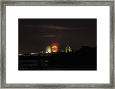 Moonrise Over The Skyway Bridge Framed Print