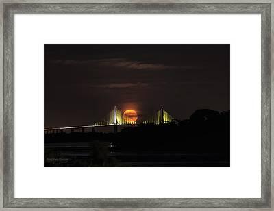 Moonrise Over The Skyway Bridge Framed Print by Michael White