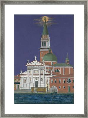 Moonrise Over Venice Framed Print by David Hinchen