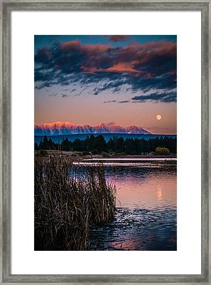 Moonrise Rocky Moutains Framed Print