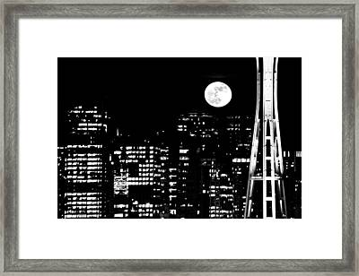 Moonrise Seattle Framed Print by Benjamin Yeager