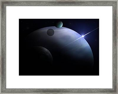 Moons Of Neptune Framed Print by Ricky Haug