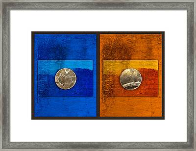 Moons On Blue And Gold Framed Print by Carol Leigh