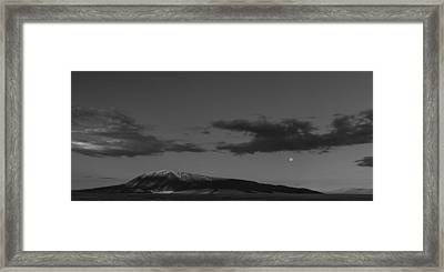 Moonset And Sunrise Framed Print