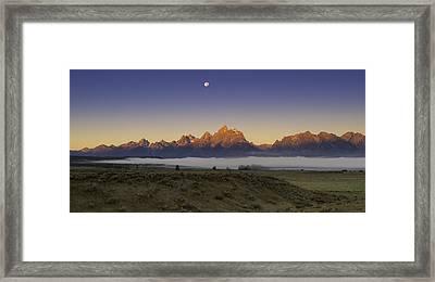 Moonset At Dawn Grand Teton National Park Framed Print by Joseph Rossbach
