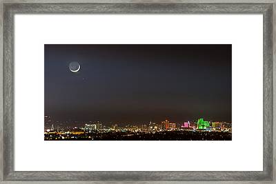 Reno Downtown New Years Moonset Pano Framed Print by Janis Knight