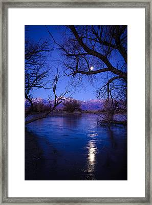 Moonset On Farmers Pond Framed Print by Joe Doherty