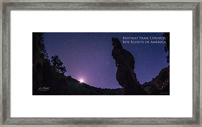 Moonset On The Needle - Pano Framed Print