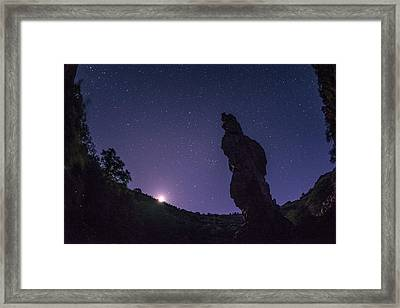 Moonset On The Needle Framed Print