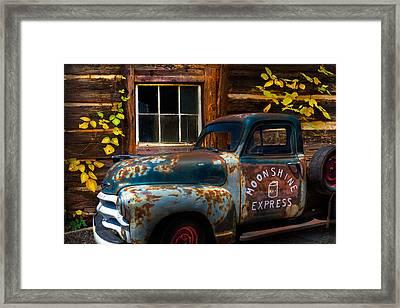 Moonshine Express Framed Print by Debra and Dave Vanderlaan