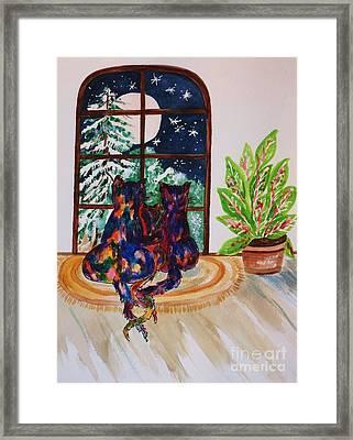 Moonstruck Cats - Winter Wonderland Framed Print