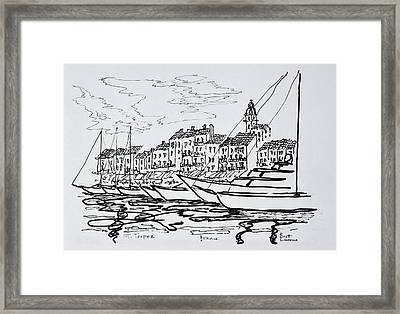 Moored Boats In The Harbor Framed Print
