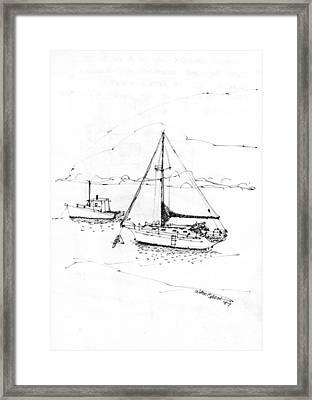 Moored Boats Monhegan Island Framed Print by Richard Wambach