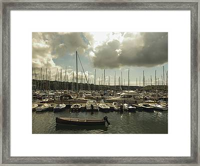 Moored Boats Framed Print by Winifred Butler