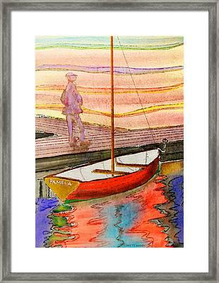 Moored Dinghy Framed Print by Brett Shand