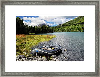Moored Dingy On Kenai Lake, Kenai Framed Print