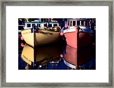 Framed Print featuring the digital art Moored Fishing Boats by Richard Farrington