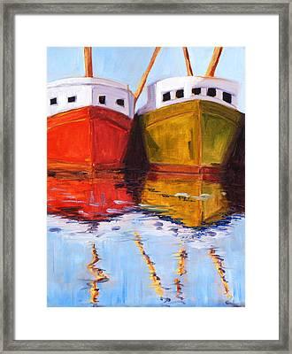 Moored Framed Print by Nancy Merkle