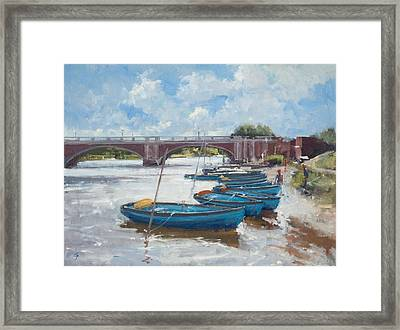 Moorings At Hampton Court, 2011 Oil On Canvas Framed Print
