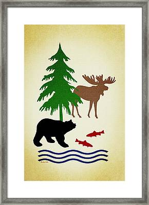 Moose And Bear Pattern Aged Framed Print by Christina Rollo