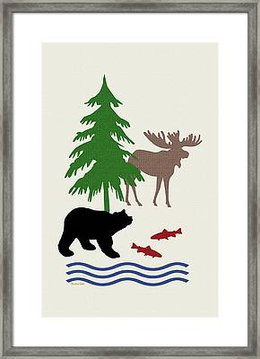 Moose And Bear Pattern Art Framed Print