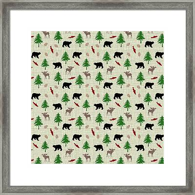 Moose And Bear Pattern Framed Print by Christina Rollo
