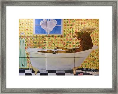 Moose Bath II Framed Print