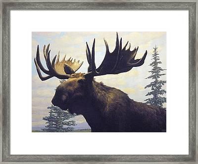 Moose Diorama Framed Print