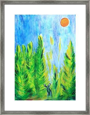 Moose In Moonlight Framed Print by Zeke Nord