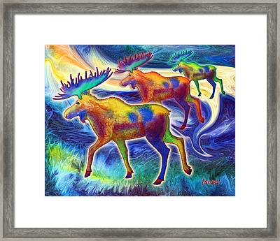 Framed Print featuring the mixed media Moose Mystique by Teresa Ascone