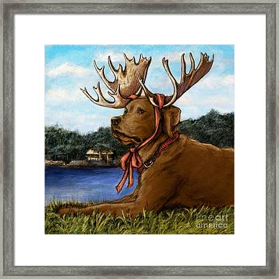 Moose Sighting - Chocolate Framed Print by Kathleen Harte Gilsenan