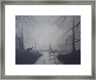 Framed Print featuring the painting Moose Swanson River Alaska by Richard Faulkner