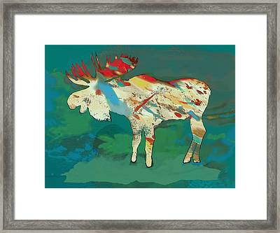 Moose - Wild Animal Stylised Pop Art Drawing Portrait Poster Framed Print