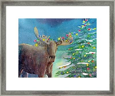 Framed Print featuring the painting Moosey Christmas by LeAnne Sowa