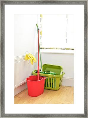 Mop And Bucket Framed Print by Tom Gowanlock