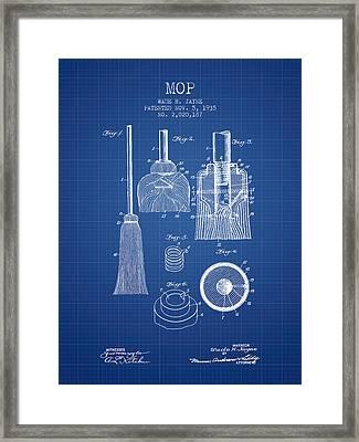 Mop Patent From 1935 - Blueprint Framed Print