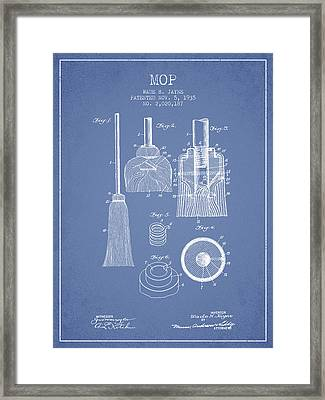 Mop Patent From 1935 - Light Blue Framed Print by Aged Pixel