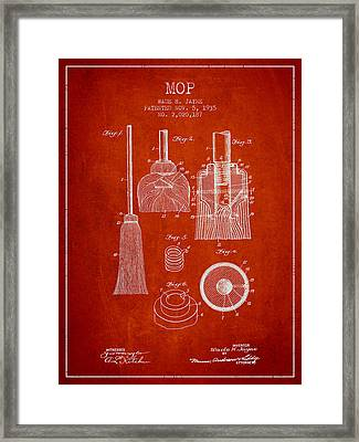 Mop Patent From 1935 - Red Framed Print by Aged Pixel